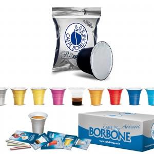 100 Capsule Caffè Borbone Respresso Miscela Nera compatibili Nespresso Accessori