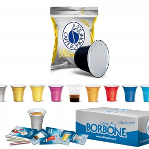 100 Capsule Caffè Borbone Respresso Miscela ORO compatibili Nespresso + Accessori