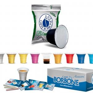 100 Capsule Caffè Borbone Respresso Miscela Verde Dek Decaffeinato compatibili Nespresso Accessori