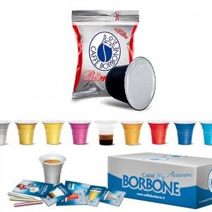 100 Cialde Capsule Caffè Borbone Respresso Miscela Rossa e compatibile Nespresso Accessori