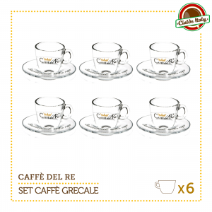 Set 6 Tazze Tazzine Caffe con piattino Grecale Caffè Del Re