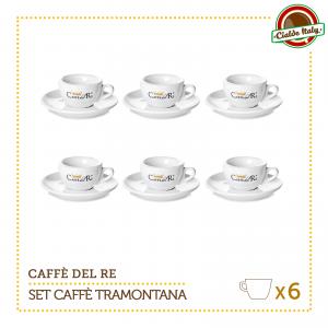 Set 6 Tazze Tazzine Caffe con piattino Tramontana Caffè Del Re