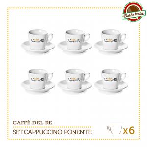 Set 6 Tazze Tazzine Cappuccino Tè con piattino Ponente Caffè Del Re