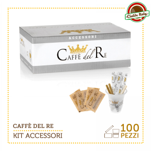 KIT ACCESSORI CAFFE' DEL RE DA 100 PZ BICCHIERINI + ZUCCHERO DI CANNA + PALETTINE