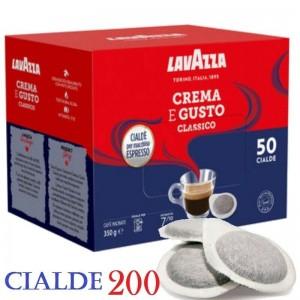 200 Cialde Caffè Lavazza Crema e Gusto Gran Espresso Intenso Filtro carta 44mm