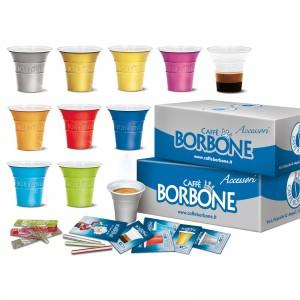 Kit Accessori monouso 100 pezzi Caffè Borbone Bicchierini + Palette + Zucchero