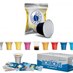 100 Capsule Caffè Borbone Respresso Miscela ORO compatibili Nespresso + Accessori