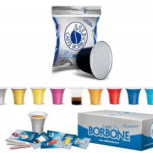 100 Cialde Capsule Caffè Borbone Respresso Miscela Blu e compatibile Nespresso Accessori