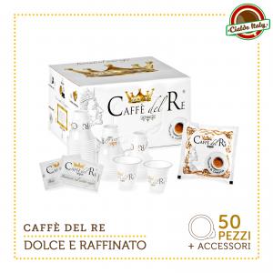 50 Cialde Filtro carta Caffè Del Re ESE 44mm Gusto Dolce E Raffinato KIT 50