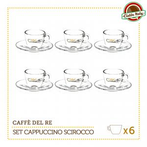 Set 6 Tazze Tazzine Cappuccino Tè con piattino Scirocco Caffè Del Re