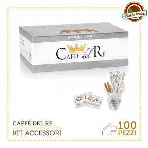 KIT ACCESSORI CAFFE' DEL RE DA 100 PZ BICCHIERINI + ZUCCHERO + PALETTINE