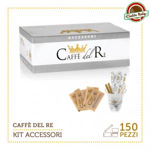 KIT ACCESSORI CAFFE' DEL RE DA 150 PZ BICCHIERINI + ZUCCHERO DI CANNA + PALETTINE