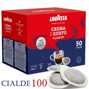 100 Cialde Caffè Lavazza Crema e Gusto Gran Espresso Intenso Filtro carta 44mm
