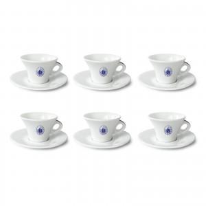 Set 6 Tazze Tazzine Cappuccino in Porcellana Caffè Borbone Rosso Blu Oro Dek Nero Cialde Capsule