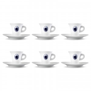 Set 6 Tazze Tazzine Caffè in Porcellana Caffe' Borbone Rosso Blu Oro Dek Nero Cialde Capsule