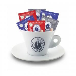Tazzone Caffè Borbone con piattino Porta Accessori Cialde Capsule Rosso Blu Oro Dek Nero